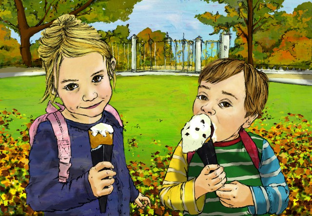 Two siblings enjoying a treat on a sunny day out in London