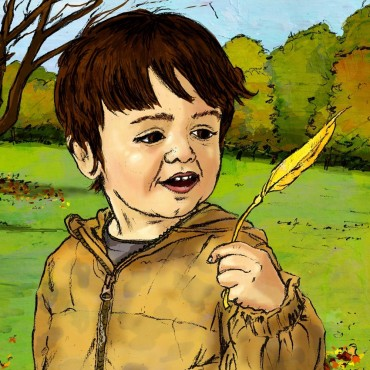 Leaf of wonder - colour illustration of a boy in park