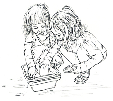 girls water play