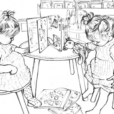 Black and white sketch of twin girls in a library