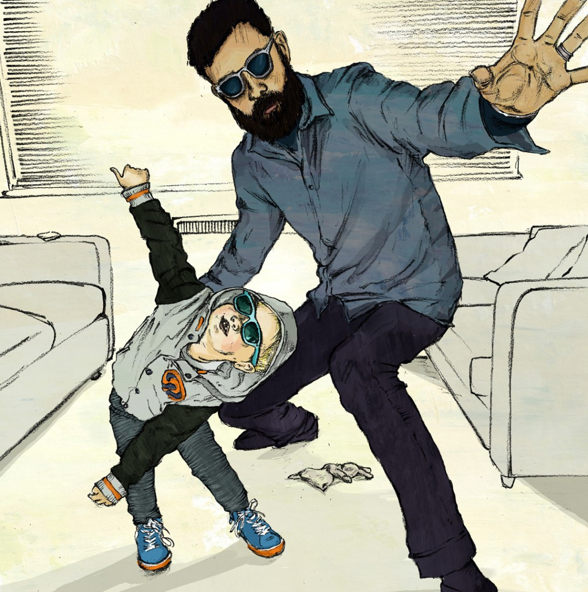 Illustration of father and son in shades acting cool together
