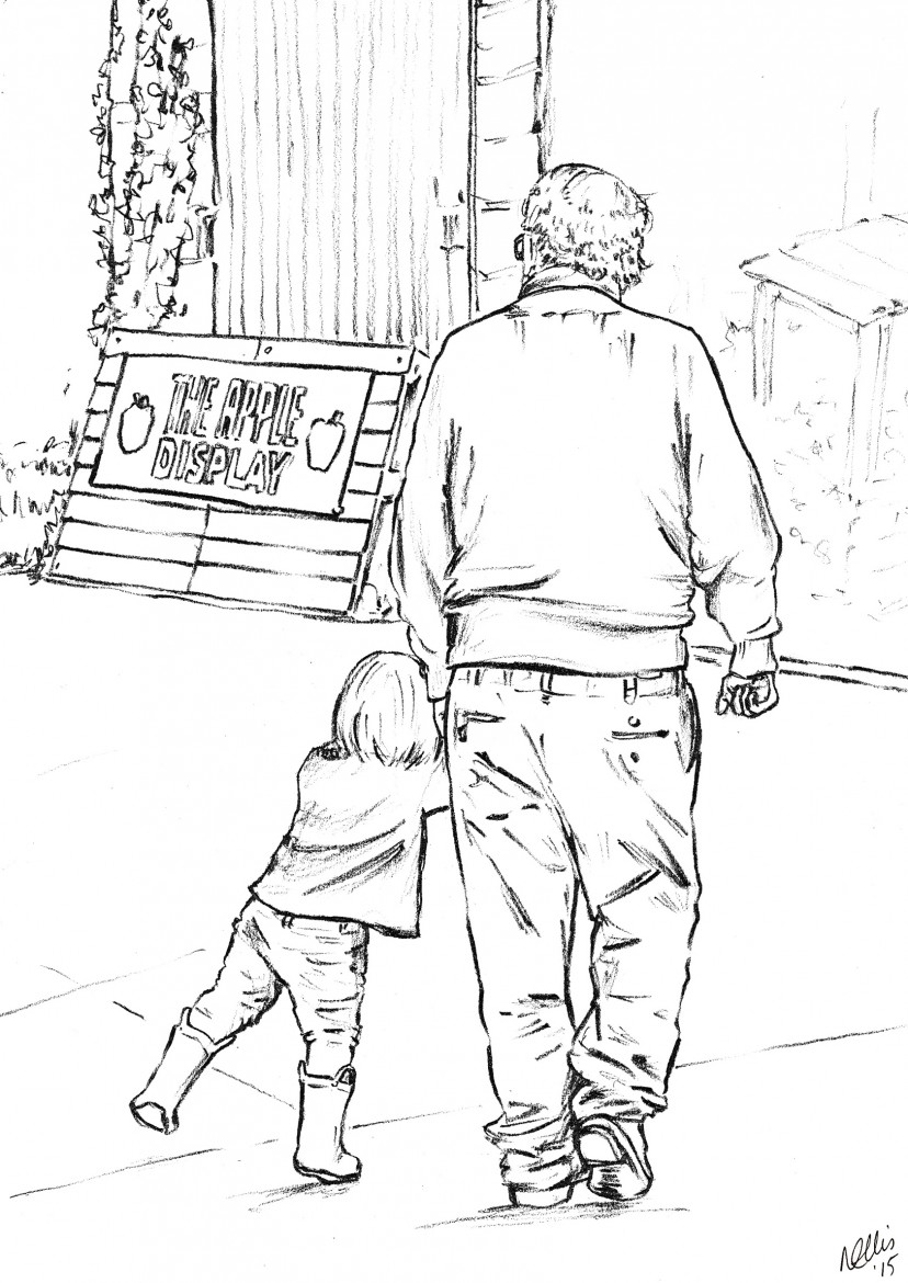 girl illustration yellow boots grandad love cherished moment
