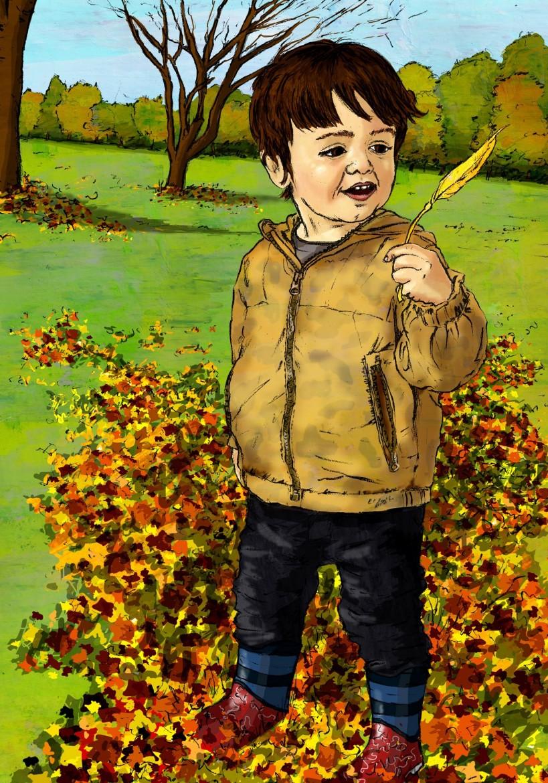 Leaf of wonder - colour illustration of a boy in park