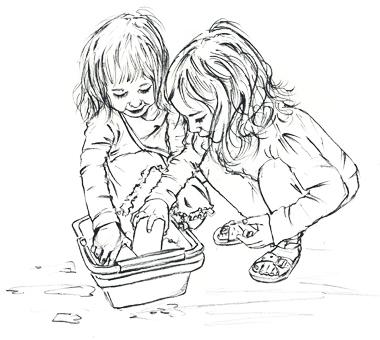 girls water play